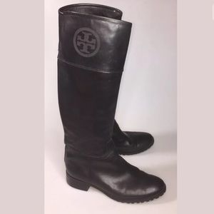 Tory Burch Jackson Riding Boots Pull On Knee-High